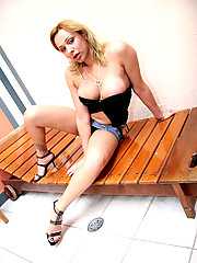 Valkiria gets fucked hard in the ass outddor by the pool in these hot tranny pics