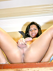 This hot tranny show off her cock then gets drilled in her ass in these pics