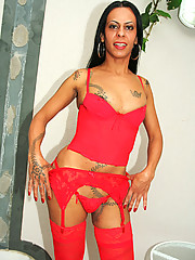 Super hot tranny in red boots with a fine ass get nailed in her ass in these hot slammin pics