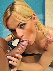 Big ass blonde tranny gets her amazing round ass pounded hard then cum faced in these hot poolside fuck pics