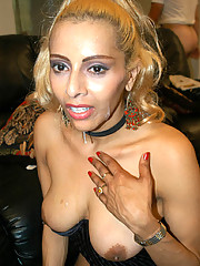 Lovely latina tranny gets cum on her face and loves it
