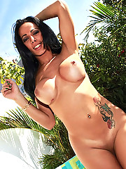 Amazingly hot big tits hot ass tranny gets her asshole fucked then creamed all over her tits while jerking her cock