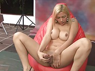 Hot & sexy tgirl playing with her enormously fat cock