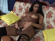 Naughty ebony tranny playing with her dick