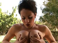 Naughty tranny Rabeche enjoying herself outdoors