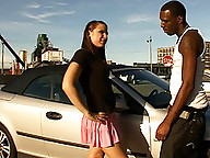 Sweet TS girl giving a hot blowjob to a black dude