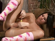 Super hot teenage tranny Ashley George playing with herself