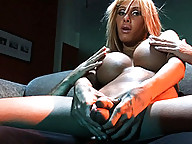 Busty TS Kimber James interrogating a guy