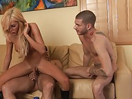 Hot TS Kimber James riding a fat cock