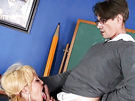 Sexy schoolgirl having fun with her math teacher