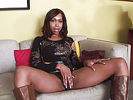 Black shemale star Jade shows off her cock