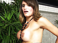 Big cock tranny strips and shows off her body