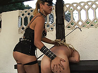 Guy gangbanged and facialized by ts dommes