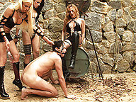 Slave gets abused and humiliated by shemales