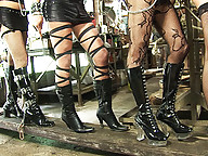 Submissive slave gets used and abused by trannies