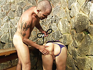 Dominant guy detroys this trannys mouth and ass
