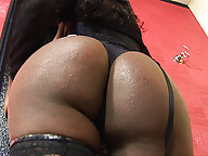 Black shemale Valeria Beyonce plays with her cock