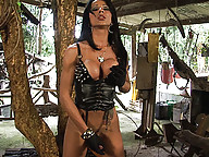 Mistress Nicolly please herself by miling her huge cock