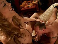 Ts Johanna B. ties up a straight boy, has him jerk off and right as cum squirts out, she reveals her own hard dick and shoves it in his shocked mouth.
