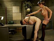 Ts Jessica Host gives hardcore ass fucking to her unwilling guy. He struggles, she thrusts harder in his tight ass. Jessica pins him down and finishes