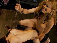 Latina Ts Johanna B, fucks boy band drummer with her stiff dick, milks him dry while pumping his ass, leaves him chained up for his bandmates to find.