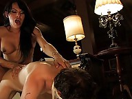 TS hottie Foxxy seduces innocent guy, ass and face fucks him until she cums, he cums on her feet.