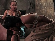 Ts 9 inch cock rams guy in mouth and ass, she cums on him