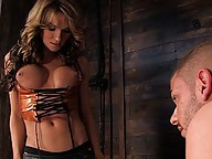 TS Kelly Shore fucks, sucks and cums all over her boy toy