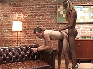 Mistress Soleli fucks her man toy with her big black ts cock