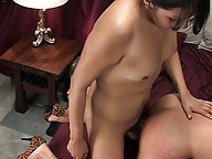 TS Jamie Page seducing a hot guy into blow jobs and anal sex
