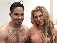 TS Carmen Cruz gets her tranny dick sucked in the shower