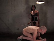 TS dominates her male slave then fucks his tight ass hard