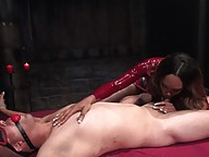 TS Sexy Jade fucks her slave in the ass and cums on his face