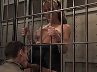 Straight man in jail forced to suck the TS guard