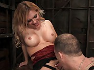 Hung blond Tranny ties up straight guy, forces him to suck cock.