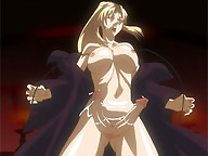 Hot blonde anime shemale babe with a double cock
