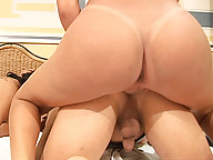 Redhead shemale in white thong sucks shecock