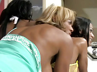Dark skinned shemales have ass fucking foursome