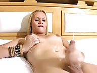 Long haired shemale shows off tasty body