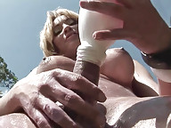 Shemale hottie pours milk over tight ass