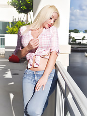 Blonde shemale in tight jeans