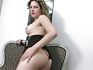 T-girl with plump shecock posing