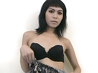 Ladyboy with pretty face wanks her shecock