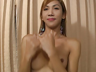 Uncut ladyboy shows off her girl pole