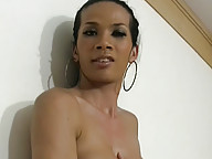Ladyboy gets tits covered in shecock jizz