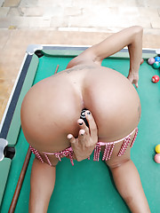 Tanned Shemale squirts cum on pool ball