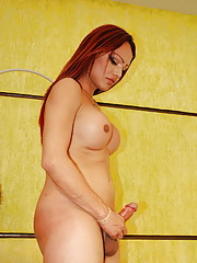 Horny tranny strokes her shaft and cums