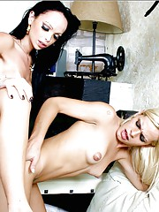 Sweet blonde and brunette tgirls fucking each other