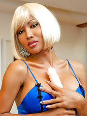 Busty May strips out of blue nightie.
