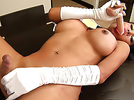 Busty May shows how much she loves her dildo.
